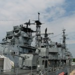 The USS Little Rock (guided missile cruiser) and USS The Sullivans (destroyer) berthed in Buffalo, New York State, USA